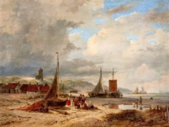Coastal Scene with Boats and Fishermen's Huts (also known as Coastal View near Scheveningen) | Andreas Schelfhout | Oil Painting