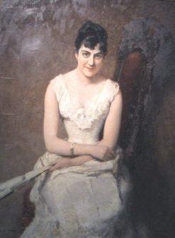 Irène von Lenbach (the painter's wife)   Albert von Keller   Oil Painting