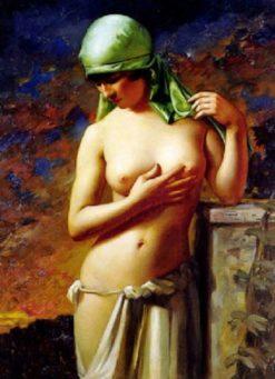 Jeune fille au foulard vert | Hans Hassenteufel | Oil Painting
