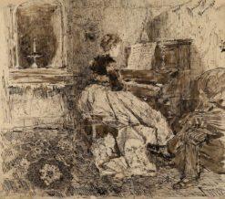 Cecilia de Madrazo Playing the Piano | Mariàno Fortuny y Marsal | Oil Painting