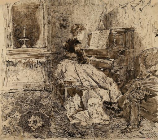 Cecilia de Madrazo Playing the Piano | Mariàno Fortuny y Marsal | Oil Painting