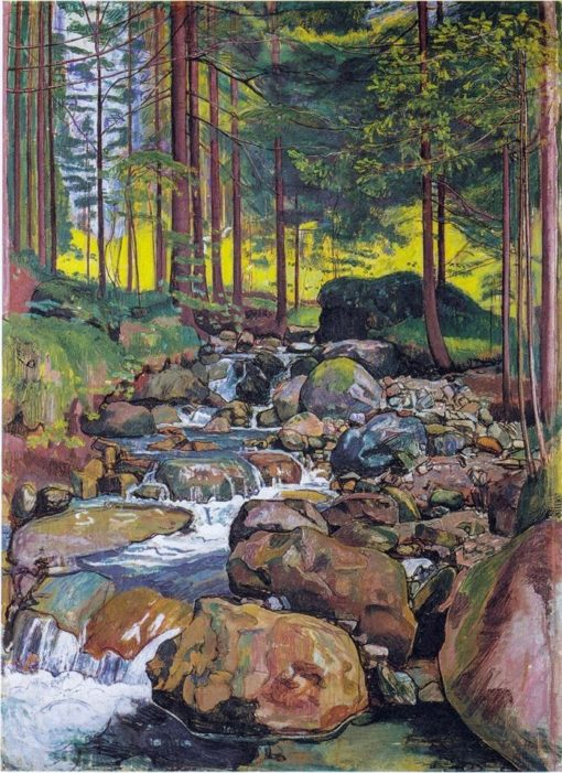 Forest with a mountain stream | Ferdinand Hodler | Oil Painting