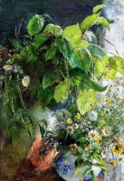 Still life with beech branches and flowers in a vase | Bertha Wegmann | Oil Painting