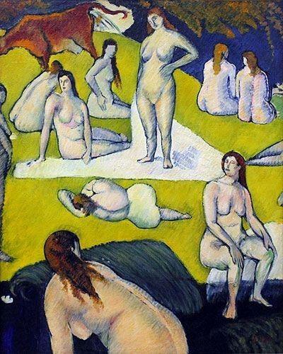 Baigneuses à la vache rouge   Emile Bernard   Oil Painting