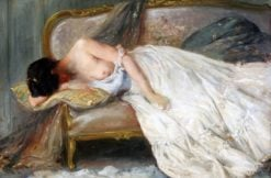 A reclining partial nude | Alfred Émile Léopold Stevens | Oil Painting