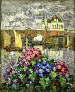 Flowers in the window   Konstantin Gorbatov   Oil Painting