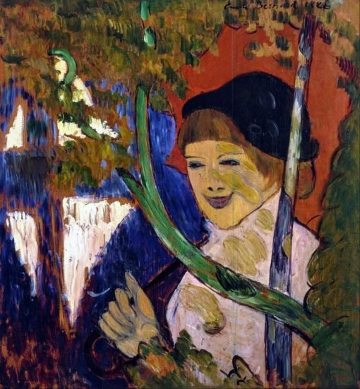 Breton Girl with a Red Umbrella   Emile Bernard   Oil Painting