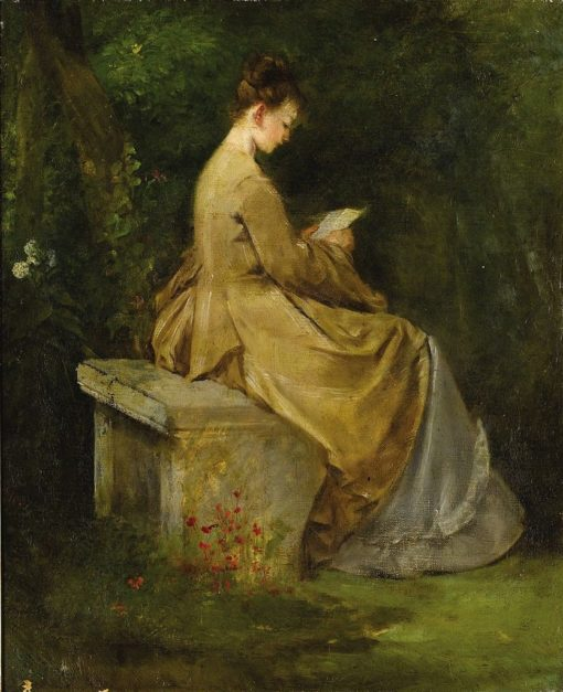 Lady reading on a bench | Mariàno Fortuny y Marsal | Oil Painting