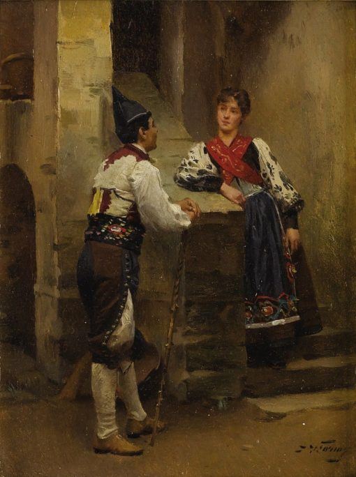 Conversation in a Courtyard   Mariàno Fortuny y Marsal   Oil Painting