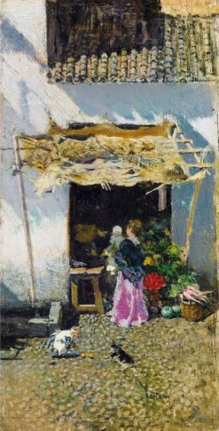 Young Woman at the lilac skirt in front of a Vegetable Stall | Mariàno Fortuny y Marsal | Oil Painting