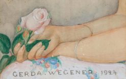 Composition with female hands holding a pink rose | Gerda Wegener | Oil Painting