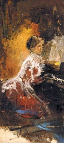 Lady at the piano | Antonio Mancini | Oil Painting