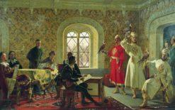 Italian Ambassador Calvucci Painting Falcons of Tsar Alexei Mikhailovich | Alexander Litovchenko | Oil Painting