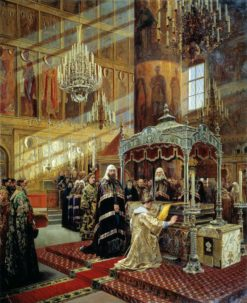 Tsar Alexei Mikhailovich and Archbishop Nikon at the Coffin of St. Filipp of Moscow | Alexander Litovchenko | Oil Painting