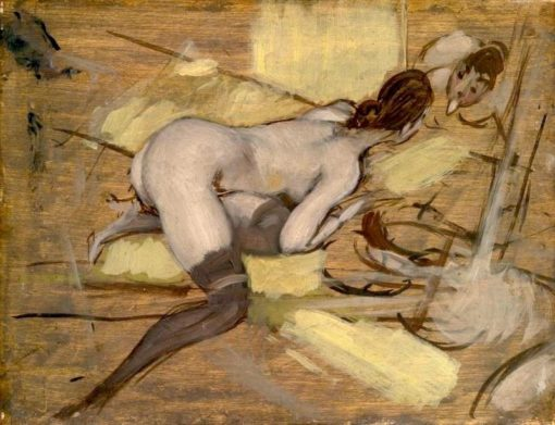Alone with the Mirror (also known as Nude Woman reclining on Yellow Cushions) | Giovanni Boldini | Oil Painting