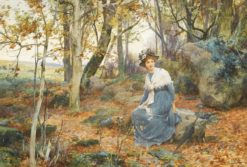Woman Sitting in Woods | Alfred Augustus Glendening