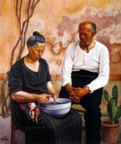 Peeling Onions   Natalino Bentivoglio Scarpa   Oil Painting