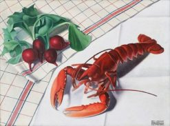 Still-life with lobster and radishes | Natalino Bentivoglio Scarpa | Oil Painting