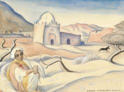 Moroccan Landscape with a Man | Gerda Wegener | Oil Painting