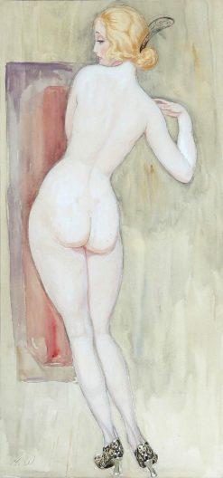 Back turned female nude in pumps | Gerda Wegener | Oil Painting