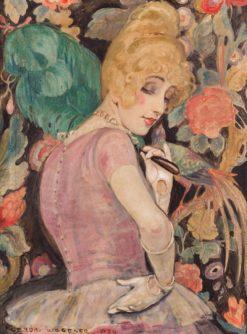 Lili Elbe with green feather fan | Gerda Wegener | Oil Painting