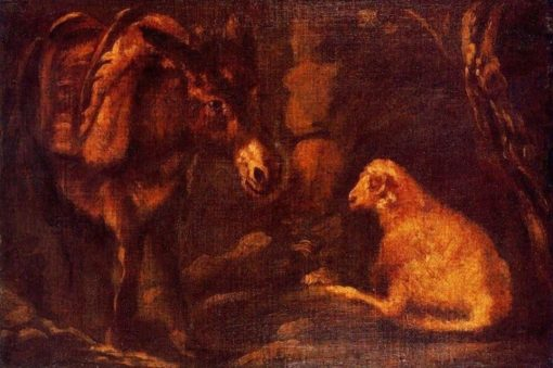A donkey and a sheep   Pedro Orrente   Oil Painting