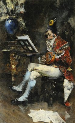Courtly Mandolin Player in the Salon (also known as The Musician) | Giovanni Boldini | Oil Painting