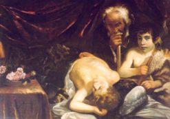Jesus sleeping with Saint Zachariah and Saint John | Guido Cagnacci | Oil Painting