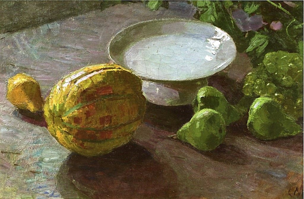 Still Life with Melon and Pears Painting | Carl Julius Rudolf Moll Oil  Paintings