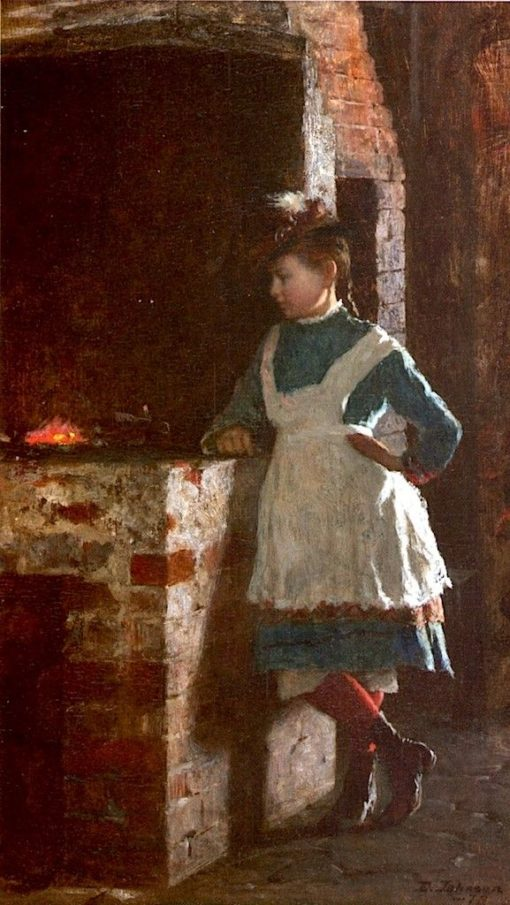 Girl by the Hearth | Eastman Johnson | Oil Painting