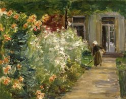Gardener in Front of the Flower Gardens at the Gardener's Cottage to the East | Max Liebermann | Oil Painting