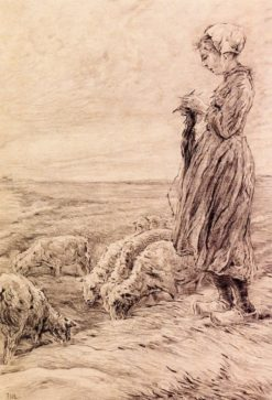 Knitting Shepherd | Max Liebermann | Oil Painting