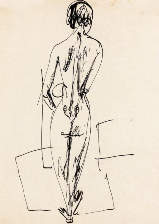 Standing Female Nude from the Rear | Ernst Ludwig Kirchner | Oil Painting