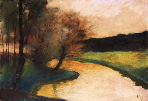 Autumnal Brook Landscape in the Evening Light | Lesser Ury | Oil Painting
