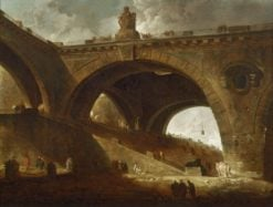 The Old Bridge | Hubert Robert | Oil Painting