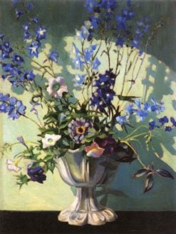 Delphiniums in a White Vase | Grant Wood | Oil Painting