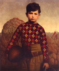 Plaid Sweater | Grant Wood | Oil Painting