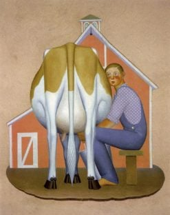 Boy Milking Cow | Grant Wood | Oil Painting