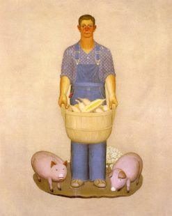 Farmer with Pigs and Corn | Grant Wood | Oil Painting