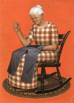 Grandma Mending | Grant Wood | Oil Painting