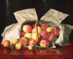 Lady Apples in an Overturned Basket | William Joseph McCloskey | Oil Painting