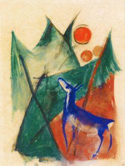 Blue Deer in Landscape | Franz Marc | Oil Painting