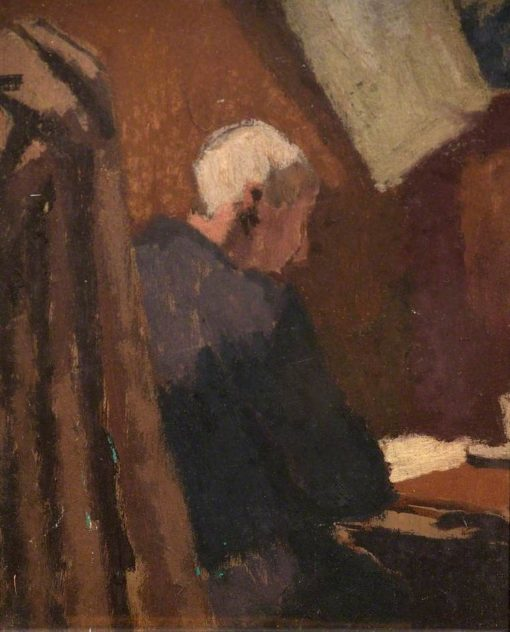 Old Man Seated at a Table | Edward Morland Lewis | Oil Painting