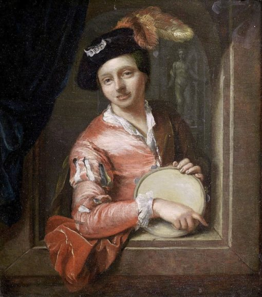 A Young Boy Holding a Tambourine