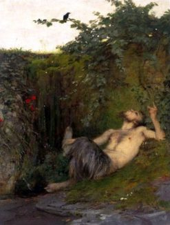 Faun Whistling to a Blackbird | Arnold Böcklin | Oil Painting