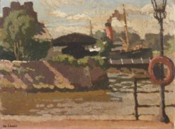 Waterford Quay with Steamboat | Edward Morland Lewis | Oil Painting