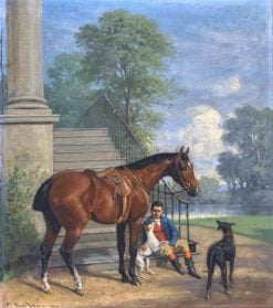 Resting Rider with Horse and Two Dogs | Emil Adam | Oil Painting