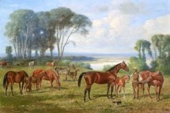 A Rider with Thoroughbreds in the Paddock over the Lake | Emil Adam | Oil Painting