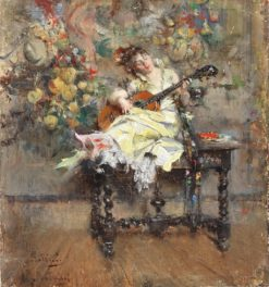 Guitar Player   Giovanni Boldini   Oil Painting