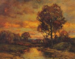 Autumnal Scene with Fishermen in a Stream   Charles P. Appel   Oil Painting